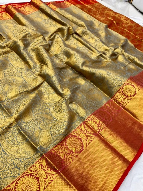 women's Grey Kanchipuram Silk saree