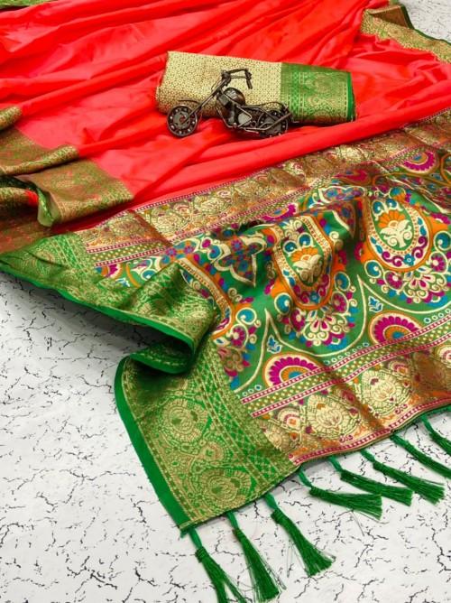 Grabandpack women's Trendy Designer Red Banarasi Silk saree