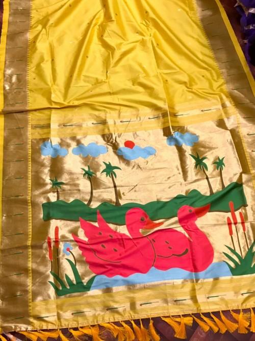 Yellow Pethani Silk woven Saree