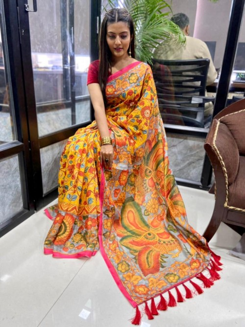 Printed Linen silk saree online