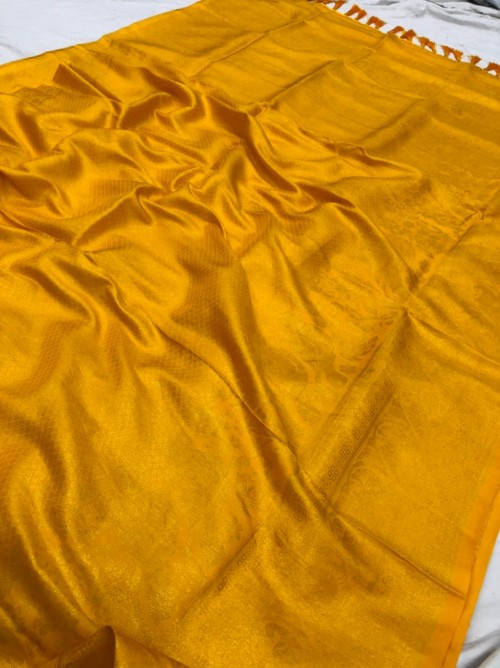 Yellow Pure Banarasi Silk with Pure Gold Kasab Zari Yarn - gnp010051