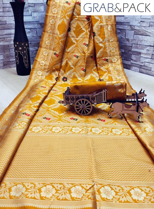 woven silk sarees online in Yellow