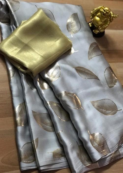 Silver satin silk saree with golden satin Blouse