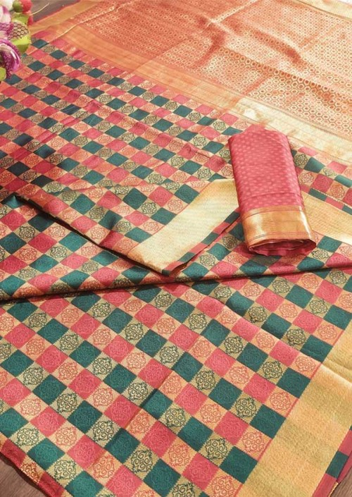 Women's Banarasi Weaving Soft Silk Saree With  Rich Heavy Border With All Over Butti Weaves gnp005452
