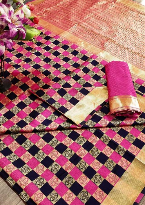 Women's Banarasi Weaving Soft Silk Saree With  Rich Heavy Border With All Over Butti Weaves gnp005453