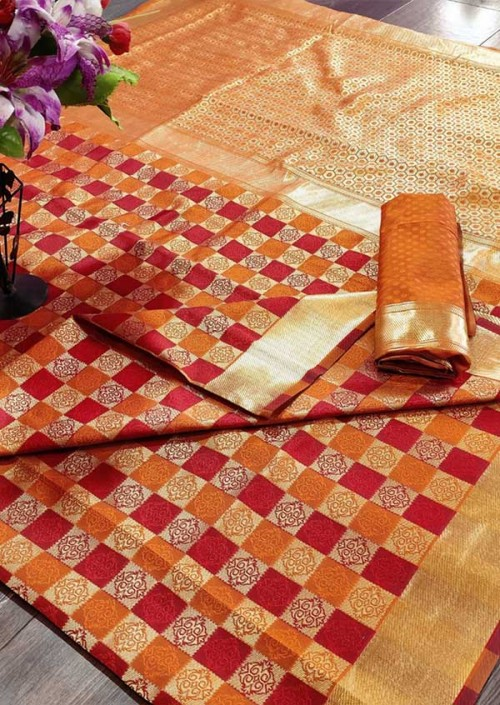 Women's Banarasi Weaving Soft Silk Saree With  Rich Heavy Border With All Over Butti Weaves gnp005456