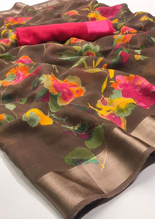 Beige Printed Linen Silk Saree from Online Clothing Store