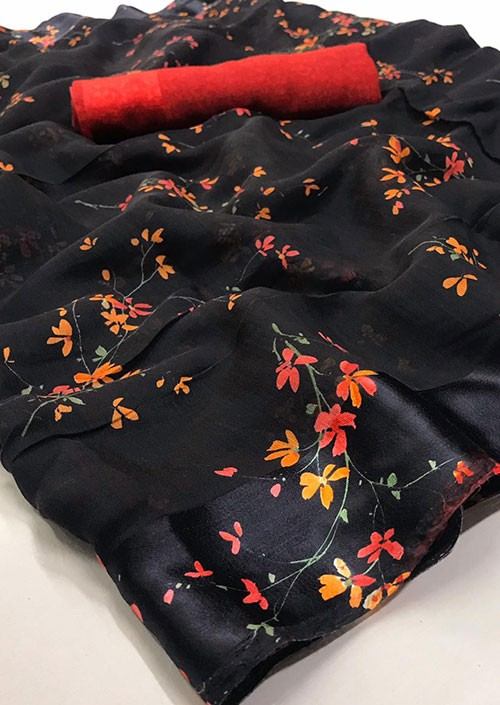 Black Printed Linen Silk Saree from Online Clothing Store