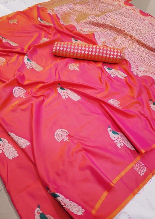 Grab and Pack Lichi Silk weaving zari silk saree in Multicolor - silk sarees Online gnp005896