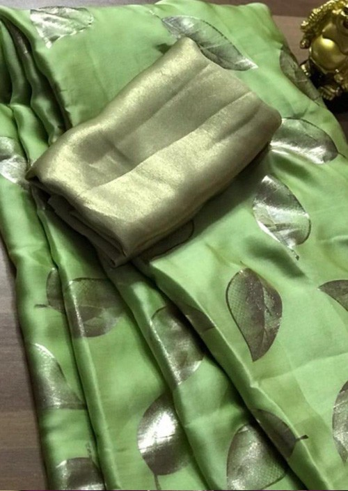 Green satin silk saree with golden satin Blouse - sarees online - gnp005362