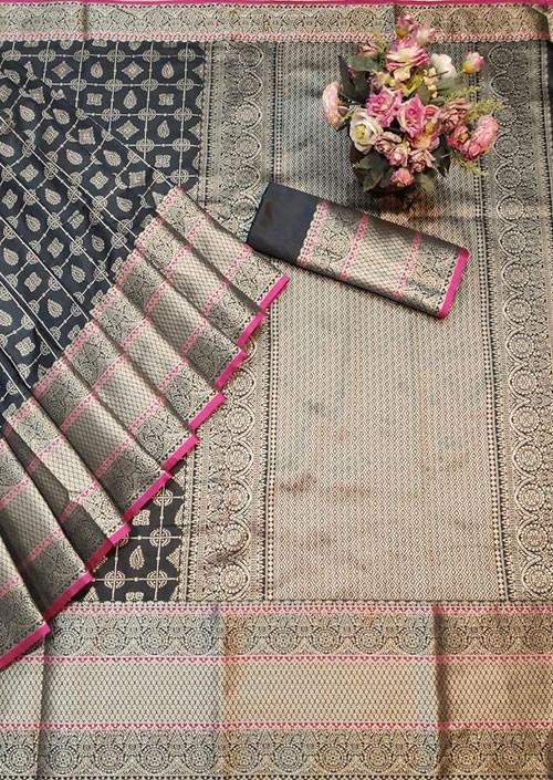 Grey Colored Banarasi Silk Saree Jacquard With Rich Pallu
