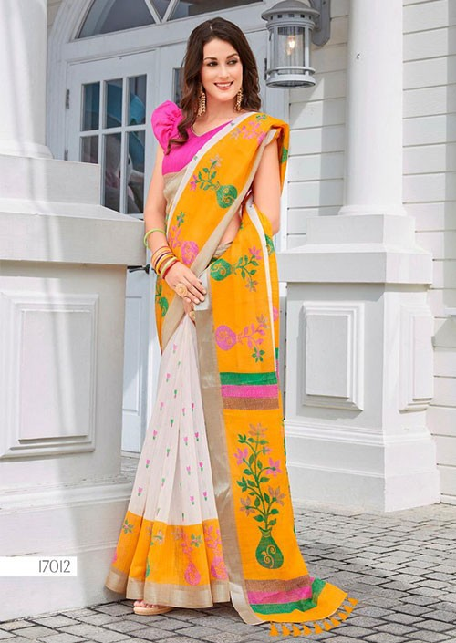 Off White Printed Ikkat Linen Saree Online