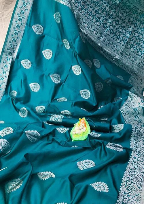 Sea Green Banarasi Silk Woven Saree with Silver Zari - gnp006180