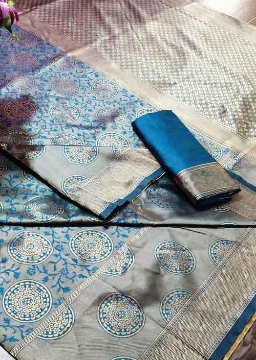 Sky Colored Beautiful Soft Banarasi Silk Fancy Saree Online