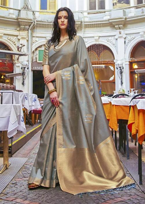 Trendy Grey Color Banarasi Silk Women's Saree