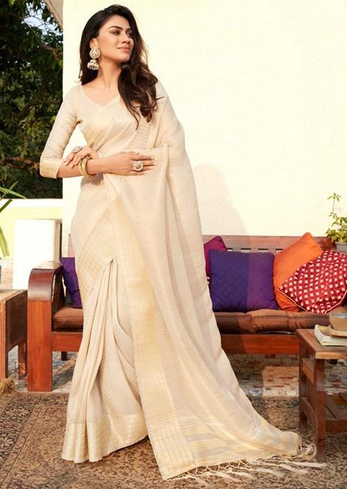 Women's Cream Colored Soft Tissue Zari With Doube Blouse Saree