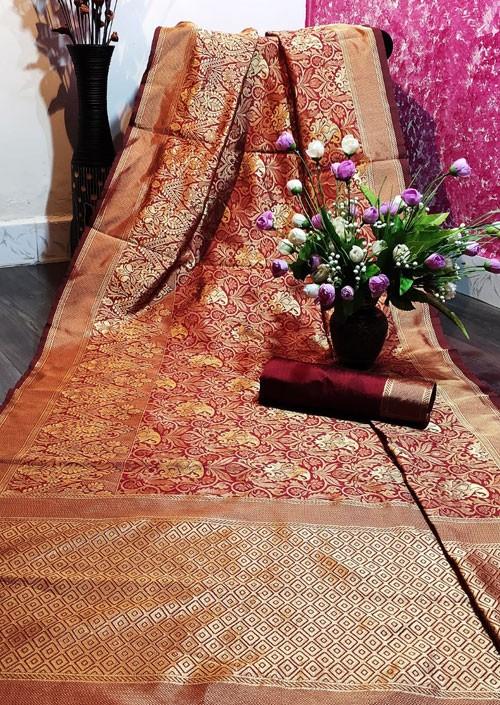 Women's Maroon color Banarasi Saree with Blouse Piece