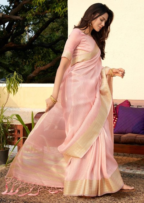 Women's Pink Colored Soft Tissue Zari With Doube Blouse Saree