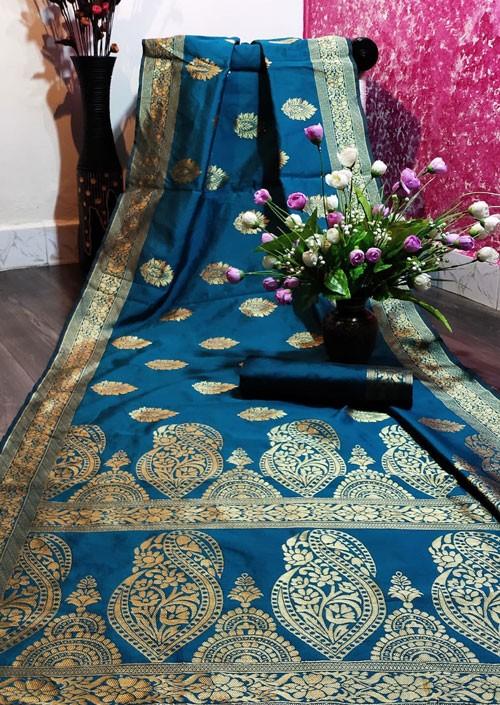 Women's Rama color Banarasi Saree with Blouse Piece
