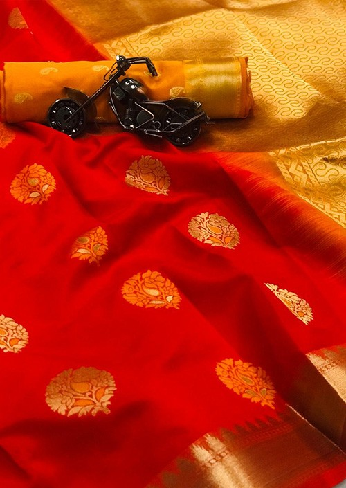 Women's Red Woven Soft and Silky Litchi Silk Saree
