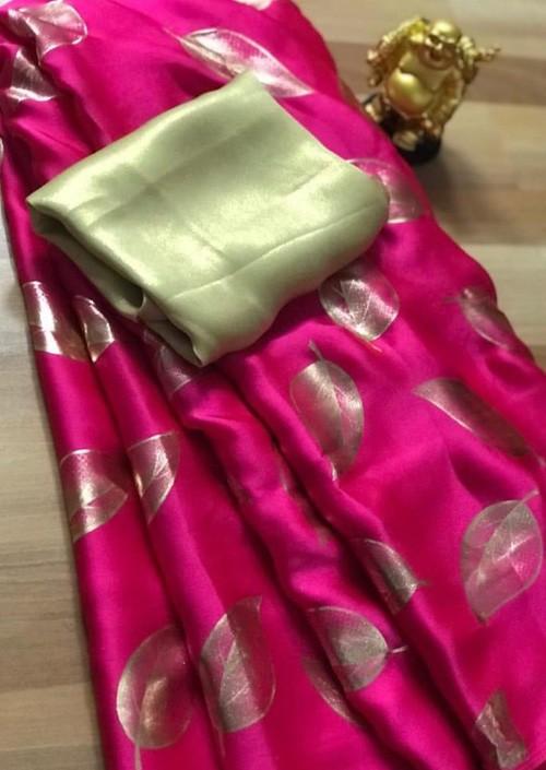Pink satin silk saree with golden satin Blouse - sarees online - gnp005359