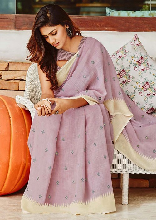Women's soft linen silk with Embroidery work saree in Purple - gnp005870
