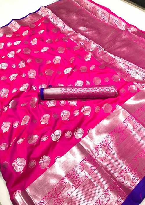 womens-lichi-silk-weaving-saree-in-pink-silk-sarees-online-gnp005978 - grabandpack.com - Grab and Pack