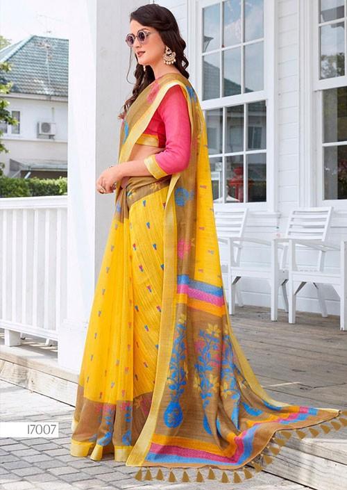 Yellow Printed Ikkat Linen Saree Online