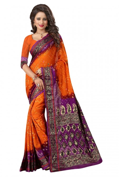Orange Color Printed bandhni Bhagalpuri saree
