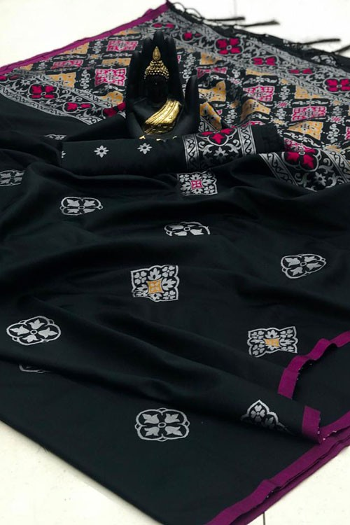 Banarasi Saree in Black gnp007414 - grabandpack