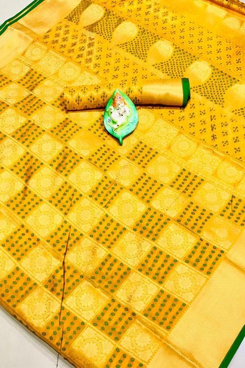 Banarasi Weaving Silk Handloom Patola Chex Saree in Yellow Color - gnp006318