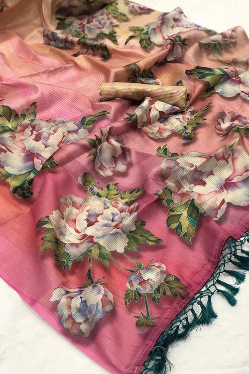 Beautiful Japanese Rainbow Silk Saree - gnp007820