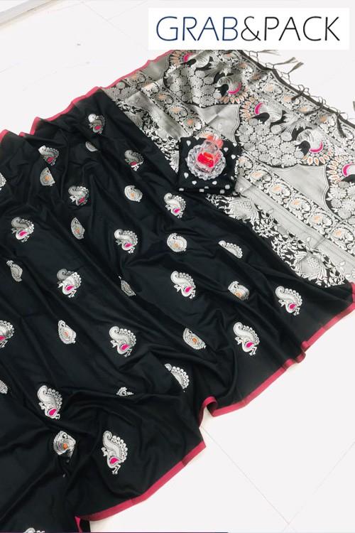 Black Banarasi silk sarees online with price