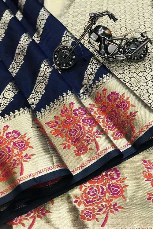 Blue Silk Banarasi Handloom Saree - gnp00642