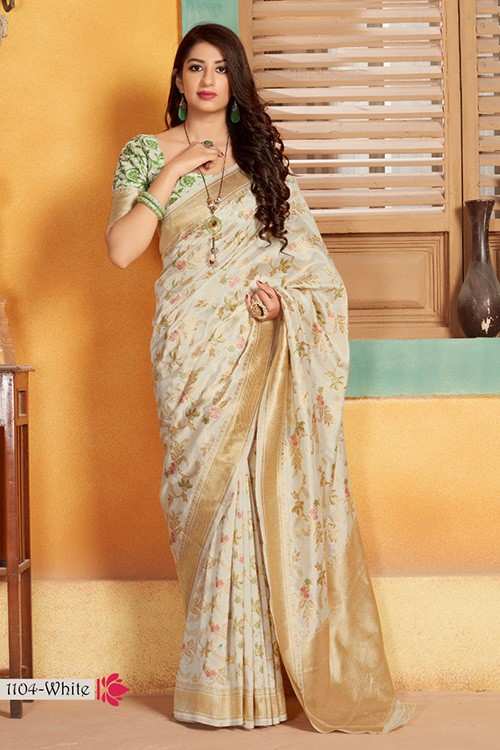 Exclusive Off White Hand Woven Pure Soft Silk Saree - gnp006747