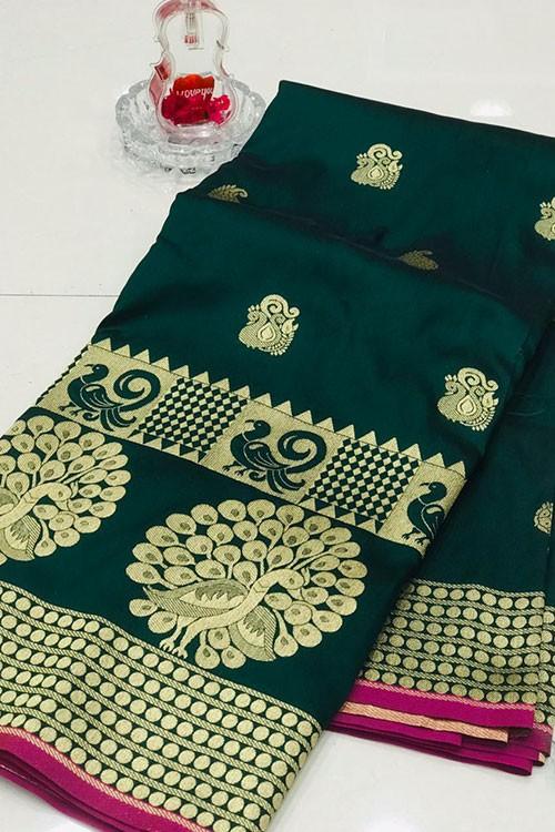 Green Banarasi Silk Golden Zari Weaving Saree - gnp007944