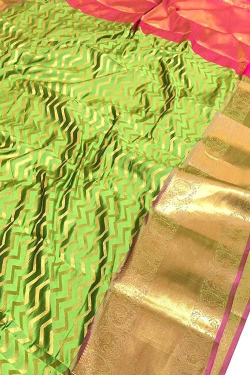 Green Banarasi Silk With Zari Work Saree - gnp009391