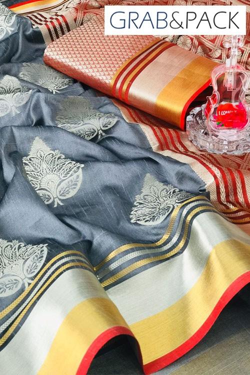 Grey banarasi silk sarees online with price gnp007648