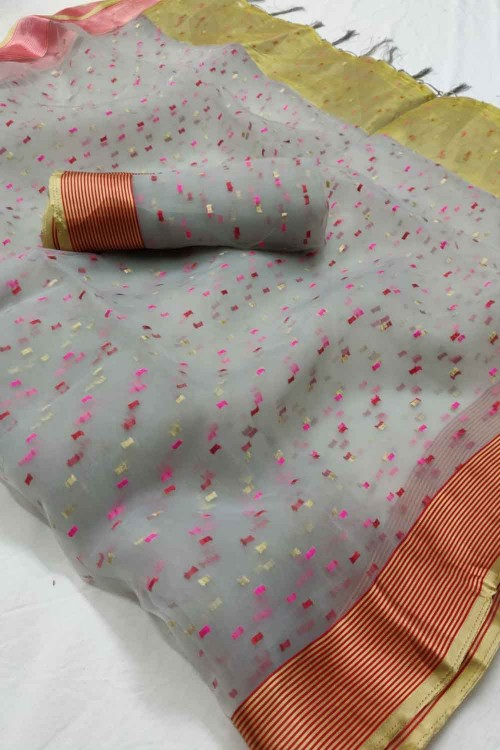 Grey Colored Beautiful Thousand Butta Organza Saree