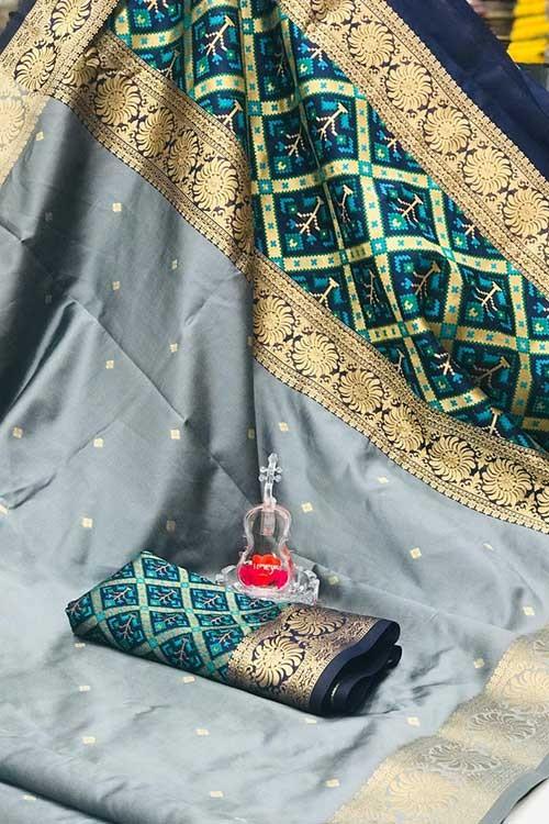 Grey Soft Banarasi Cotton Silk Saree - gnp007995
