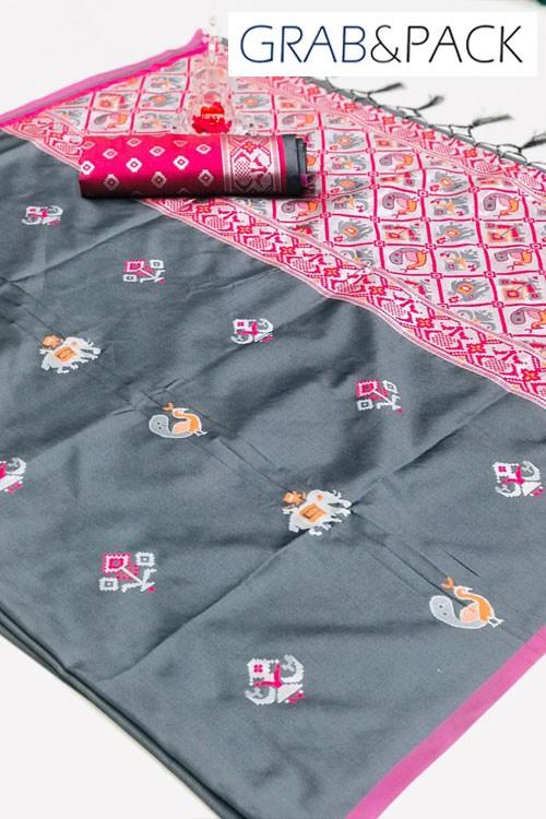 Woven Banarasi Jacquard Saree (Grey) gnp007668