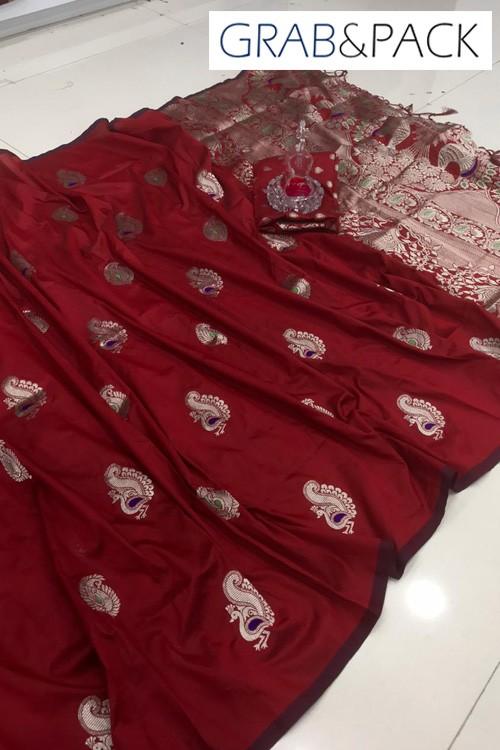 Banarasi silk saree online in Maroon