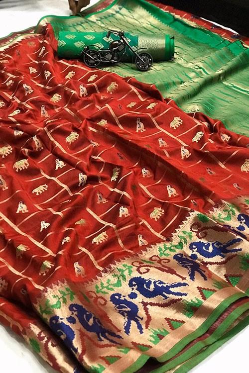 Maroon saree Online - Soft Banarasi silk woven saree gnp007301