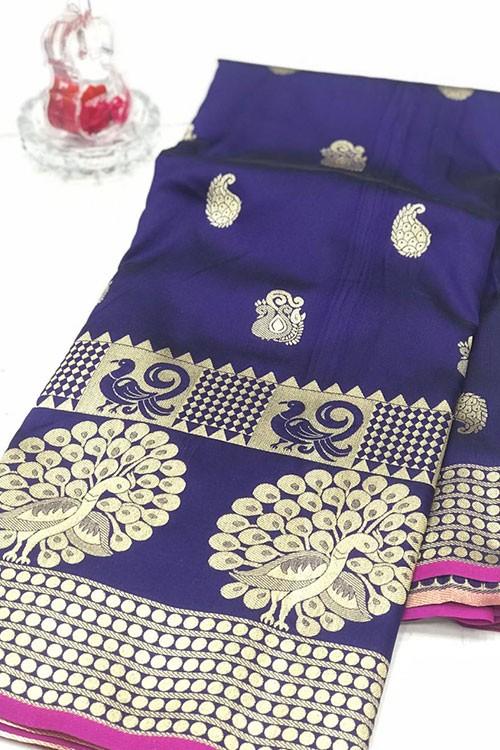 Purple Banarasi Silk Golden Zari Weaving Saree - gnp007947