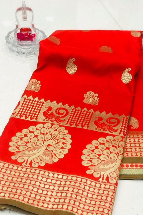 Red Banarasi Silk Golden Zari Weaving Saree - gnp007949