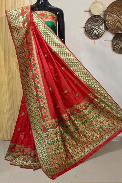 Red Exclusive Meenakari Contrast Border Saree - gnp008040