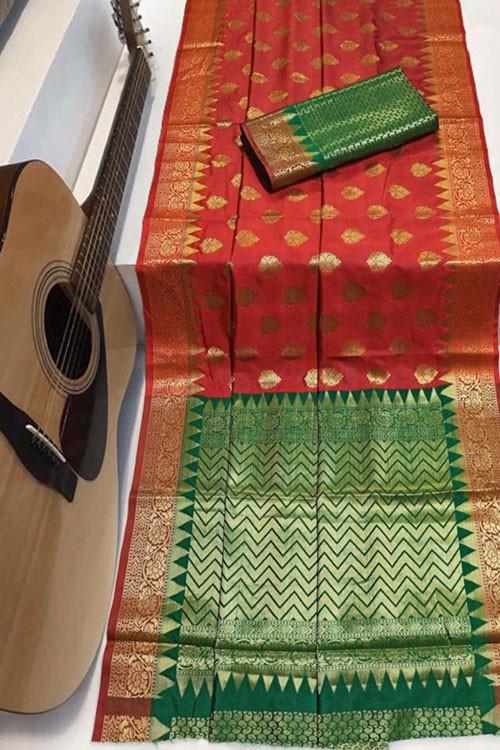 Red Soft Banarasi Silk Weaving Saree - gnp007955
