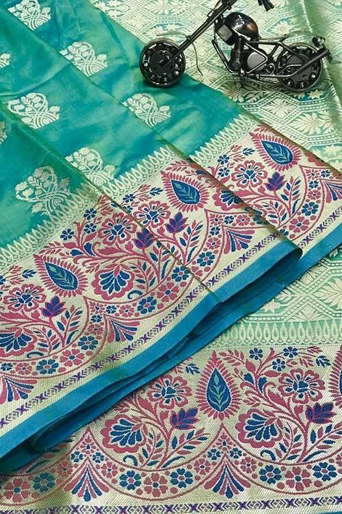 Sea Green Silk Banarasi Handloom Saree - gnp006430
