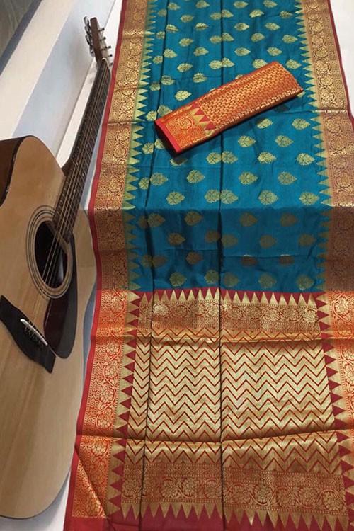Sea Green Soft Banarasi Silk Weaving Saree - gnp007956
