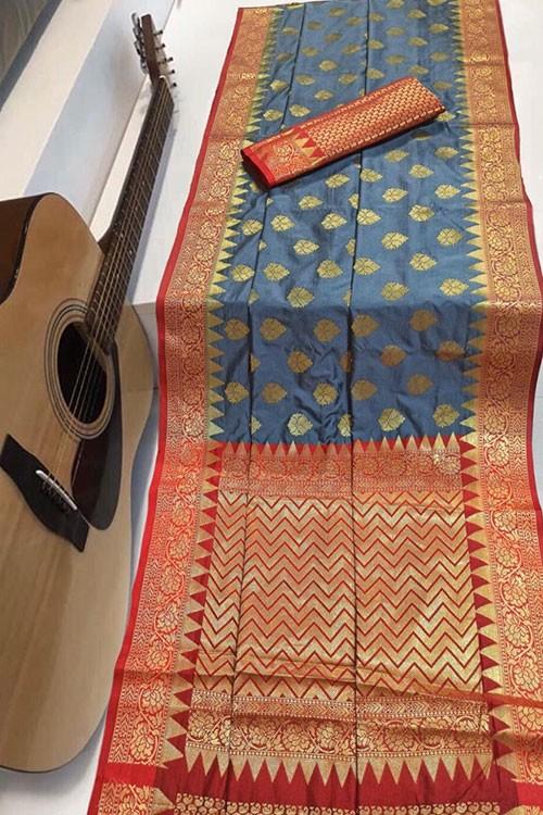 Silver Soft Banarasi Silk Weaving Saree - gnp007957